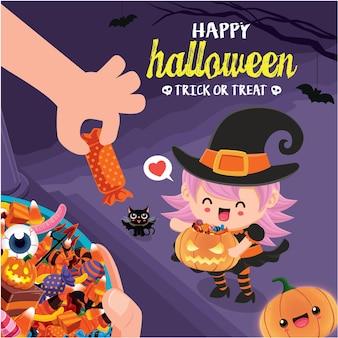 Vintage halloween-posterontwerp met vector heks kat karakter