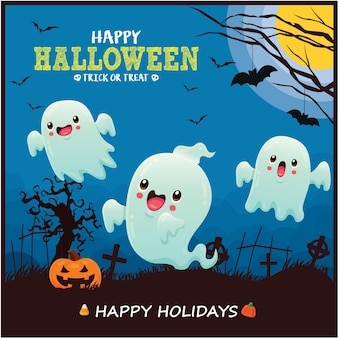 Vintage halloween-posterontwerp met vector heks kat spook vleermuis karakter