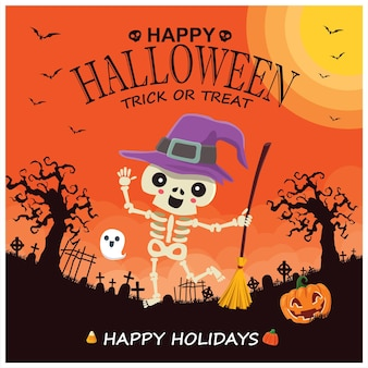 Vintage halloween-posterontwerp met vector heks pompoen spook karakter
