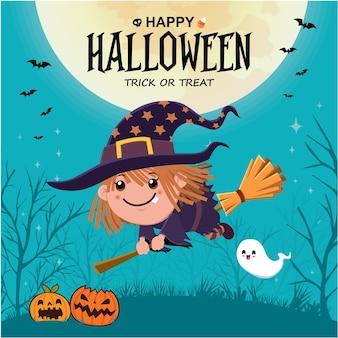 Vintage halloween-posterontwerp met vector heks spook jack o lantaarn karakter