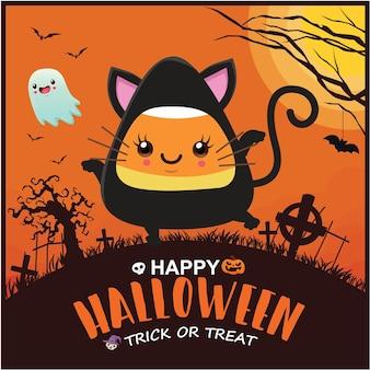 Vintage halloween-posterontwerp met vector heks spook vleermuis karakter