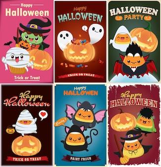 Vintage halloween posterontwerp met vector heks vleermuis kat vampier spin karakter