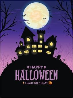 Vintage halloween-posterontwerp met vector huis jack o lantern karakter