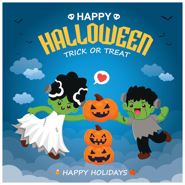 Vintage halloween-posterontwerp met vector jack o lantern spookkarakter