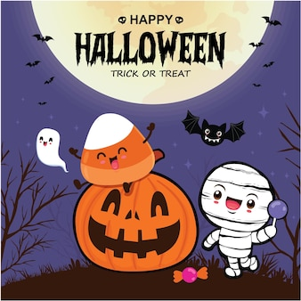 Vintage halloween-posterontwerp met vector mummie jack o lantern karakter