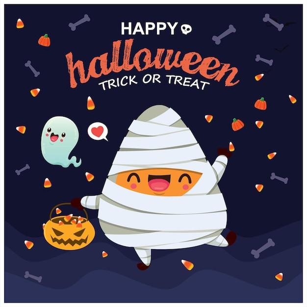 Vintage halloween-posterontwerp met vector mummie spookkarakter