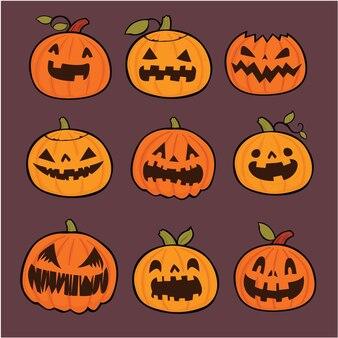 Vintage halloween-posterontwerp met vector pompoen jack o lantern karakter