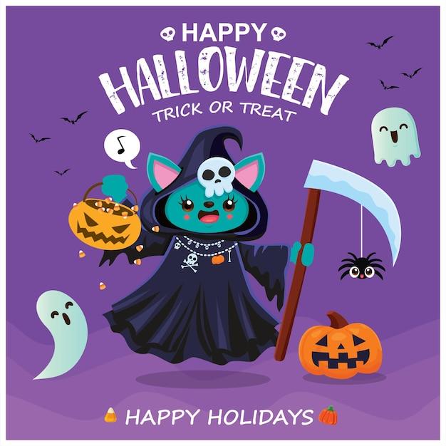 Vintage halloween posterontwerp met vector reaper cat karakter