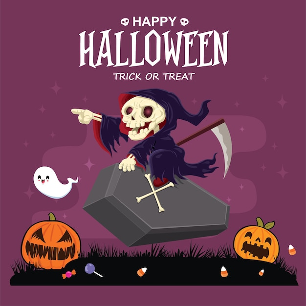 Vintage halloween-posterontwerp met vector reaper ghost jack o lantern karakter