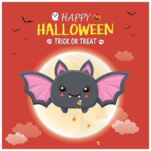 Vintage halloween-posterontwerp met vector skeleton jack o lantern spookkarakter