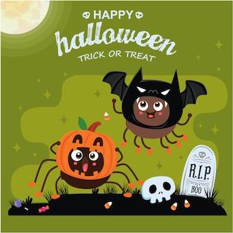 Vintage halloween-posterontwerp met vector spider bat jack o lantern karakter