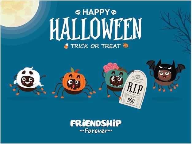 Vintage halloween posterontwerp met vector spider vampier vleermuis zombie ghostcharacter