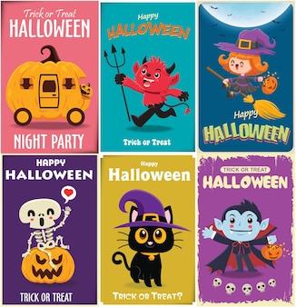 Vintage halloween posterontwerp met vector vampier heks demon kat skelet spook pompoen