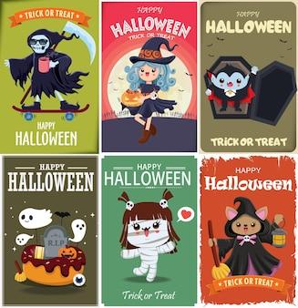 Vintage halloween-posterontwerp met vector vampier heks reaper mummie spookkarakter