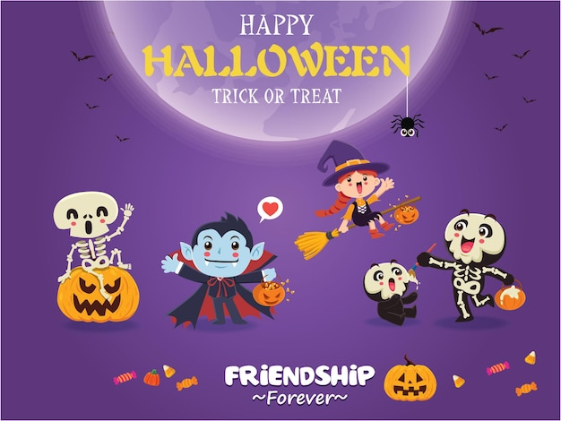 Vintage halloween-posterontwerp met vector vampier heks skelet spook pompoen karakter