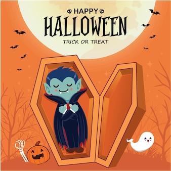 Vintage halloween-posterontwerp met vector vampier spook jack o lantern karakter