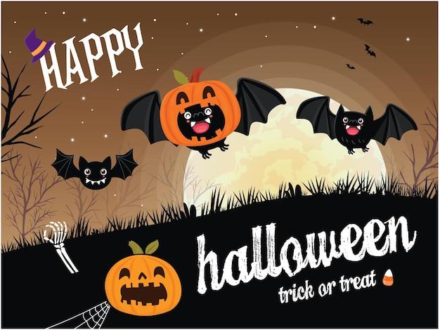 Vintage halloween-posterontwerp met vector vleermuis jack o lantaarn karakter