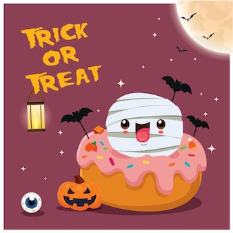 Vintage halloween-posterontwerp met vector vleermuis pompoen mummie cupcake karakter