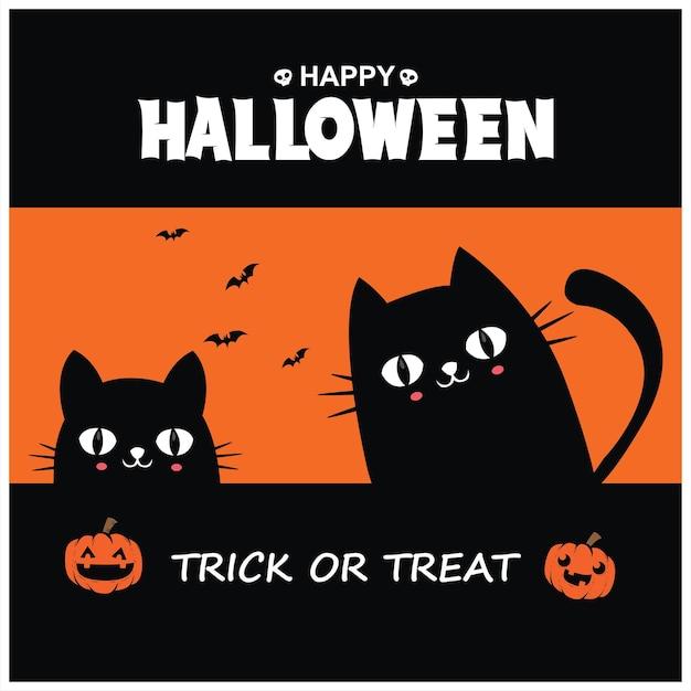 Vintage halloween-posterontwerp met vectorkatkarakter
