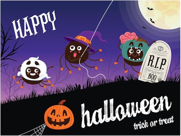 Vintage halloween-posterontwerp met vectorspinkarakter