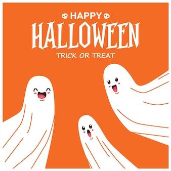 Vintage halloween-posterontwerp met vectorspookkarakter