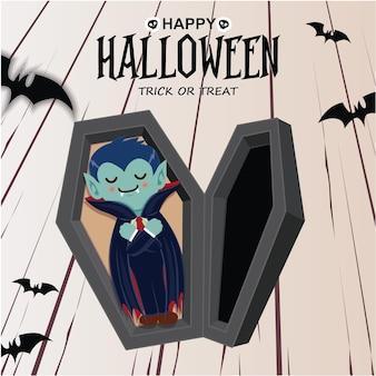 Vintage halloween-posterontwerp met vectorvampierkarakter