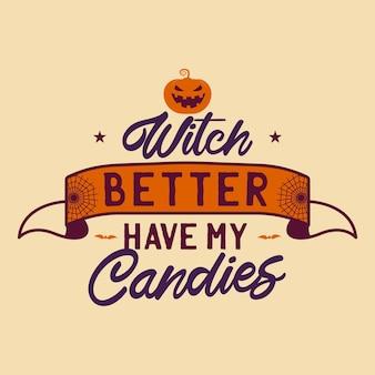 Vintage halloween typografie badge afbeeldingen met pompoen, lint en citaattekst