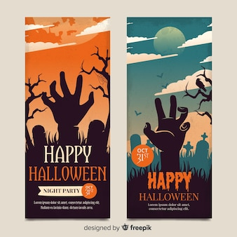 Vintage halloween zombie hand banners