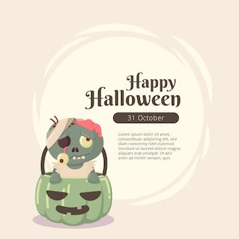 Vintage halloween-zombieontwerp als achtergrond