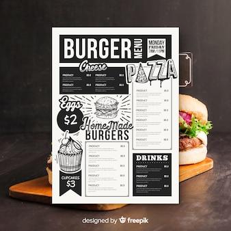 Vintage hamburger menusjabloon
