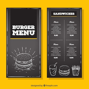 Vintage hamburgermenu in de bordenbord