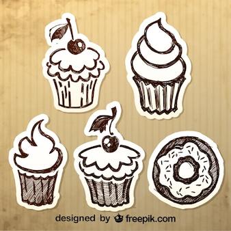 Vintage hand-drawn desserts ontwerp