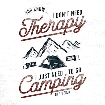 Vintage hand getekend camping t-shirt illustratie.