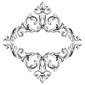 Vintage hand getekend victoriaanse of damast bloemenelement. zwart en wit gegraveerde inkt kunst.