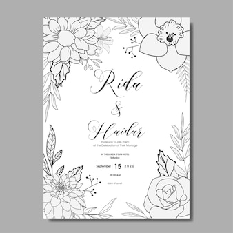 Vintage hand getekende bloemen bruiloft uitnodiging