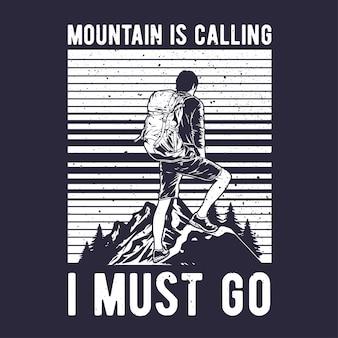 Vintage hand getekende wandelaar op de berg met grunge effect en star burst background