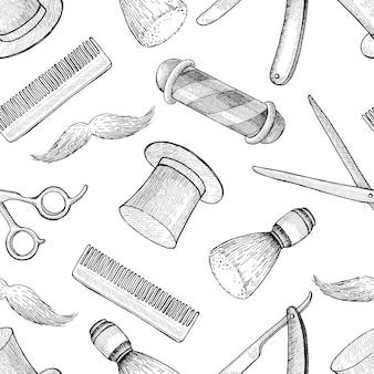 Vintage hand getrokken barber shop naadloze patroon. gedetailleerd