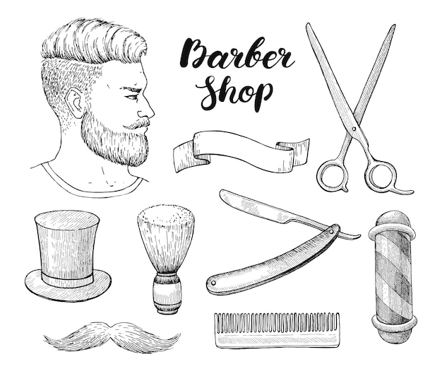Vintage hand getrokken barber shop set. gedetailleerde illustratie