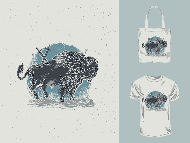 Vintage hand getrokken bison illustratie