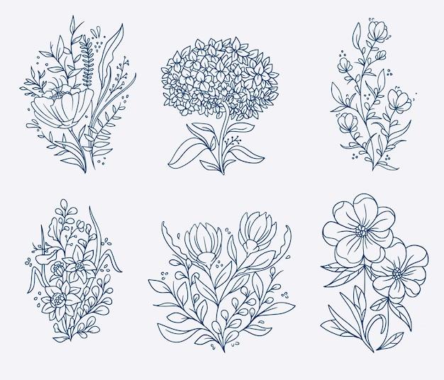 Vintage hand getrokken bloem illustratie set
