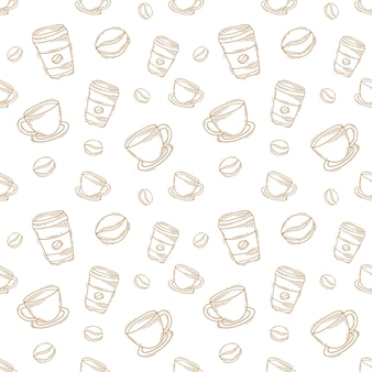Vintage hand getrokken doodle koffiekopje