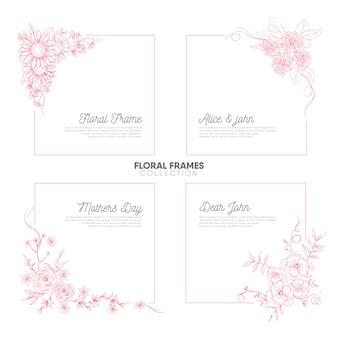 Vintage hand getrokken floral frames-collectie