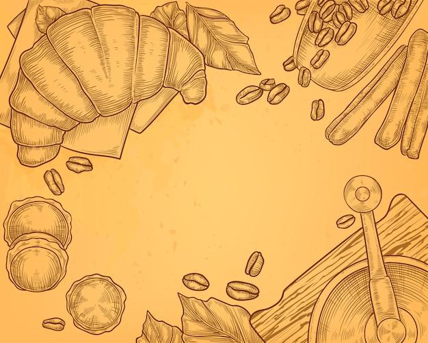 Vintage hand getrokken illustratie van koffiemolen met croissant, ontbijtconcept.