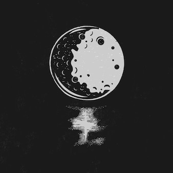 Vintage hand getrokken maan