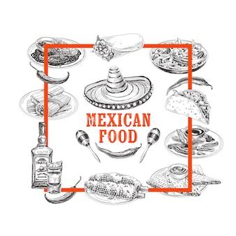 Vintage hand getrokken mexicaans eten schets illustratie.