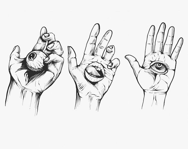 Vintage handen met alle wakend oog. hand getrokken schetsmatige illustratie