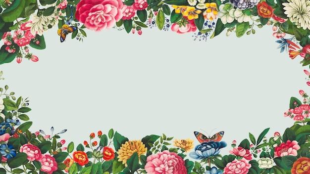 Vintage handgetekende bloem frame vector