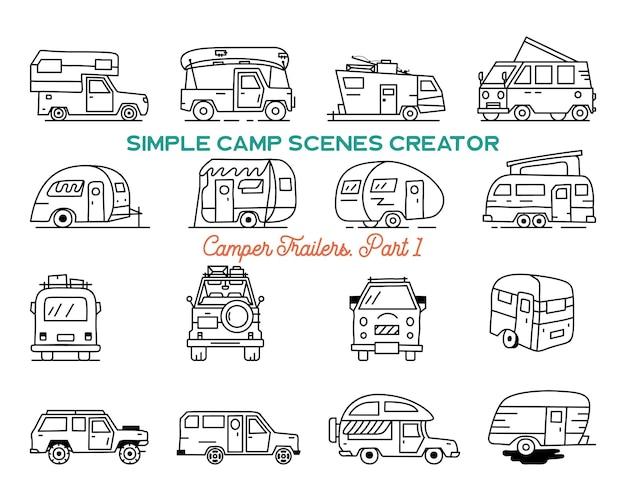 Vintage handgetekende camper recreatieve aanhangwagens, rv auto's pictogrammen. eenvoudige lijntekeningen grafische elementen. kampeervoertuigen bestelwagens en caravans symbolen. voorraad vector geïsoleerd.