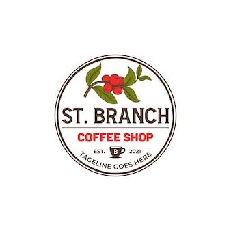Vintage handgetekende koffiebrander café logo tamplate