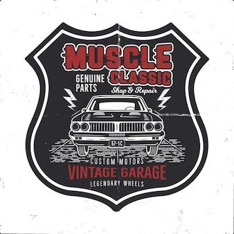 Vintage handgetekende muscle car